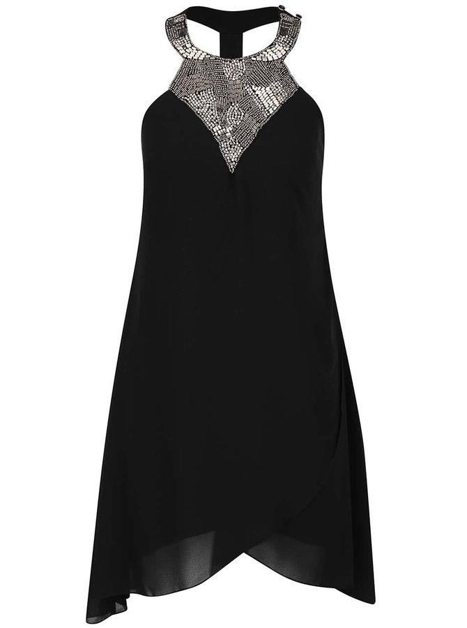 Černé šaty s korálkovým dekoltem Little Mistress
