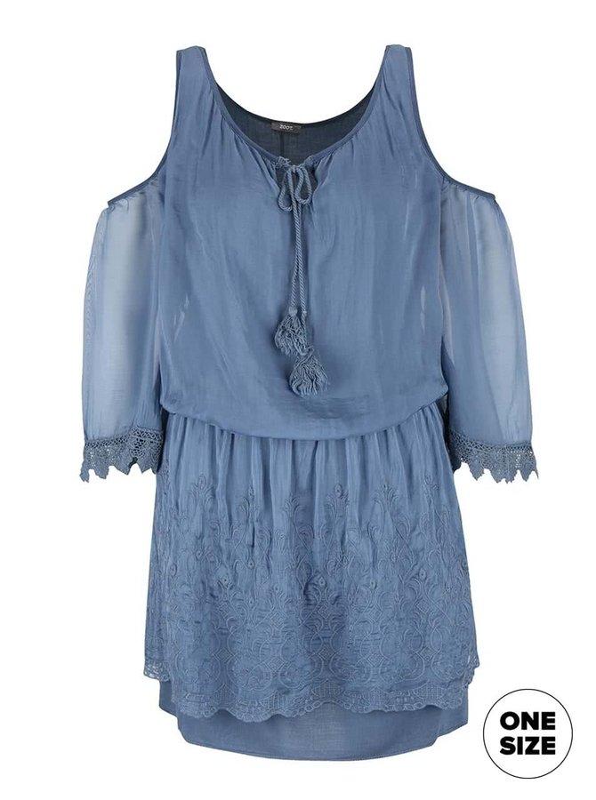 Rochie albastră ZOOT Simple cu umerii decupați
