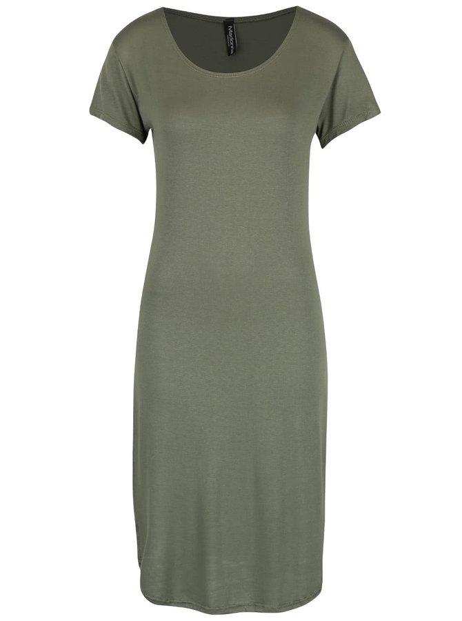 Olivovozelené šaty s krátkym rukávom Madonna