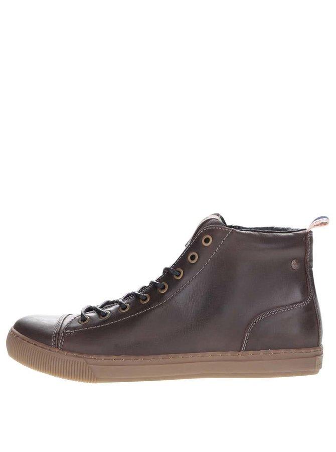 Černo-hnědé kožené kotníkové boty Jack & Jones Duran