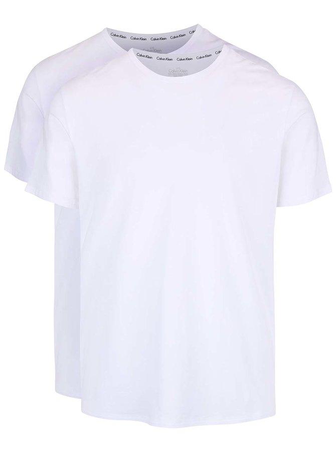 Sada dvou pánských trik v bílé barvě s kulatým výstřihem Calvin Klein
