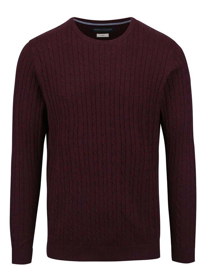 Vínový melírovaný ľahký sveter Jack & Jones Carlson