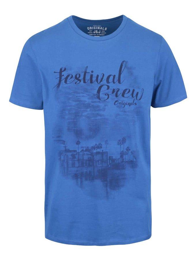 Tricou albastru cu print Jack & Jones Denim