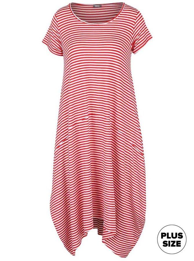 Bílo-červené volné pruhované šaty s krátkými rukávy ZOOT simple