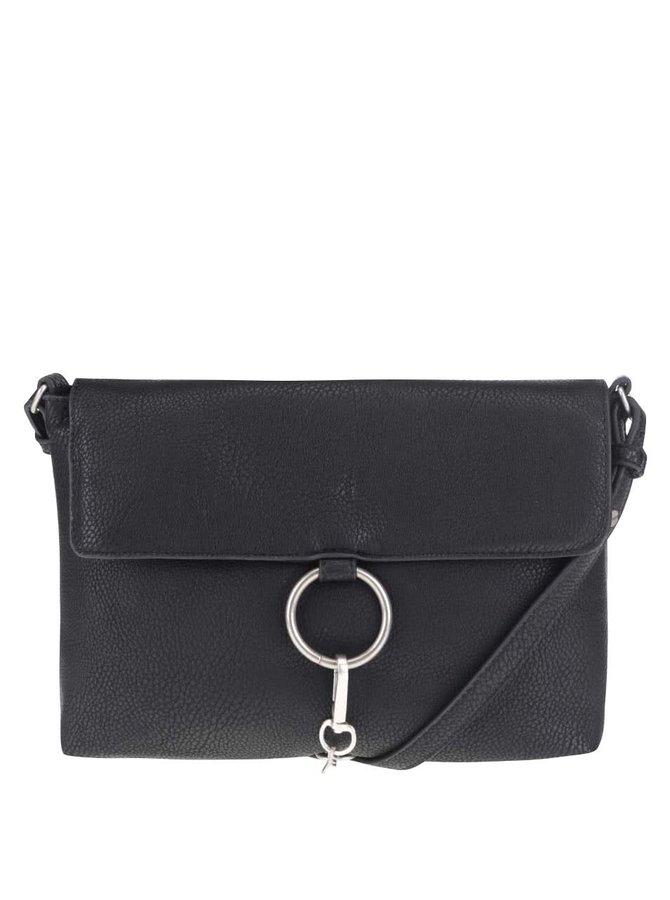 Čierna crossbody kabelka s karabínou Pieces Puk