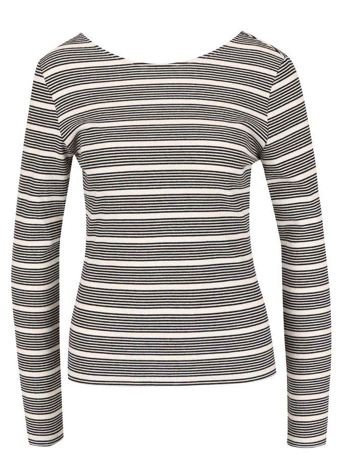Krémové pruhované tričko s dlhým rukávom ONLY Ellie