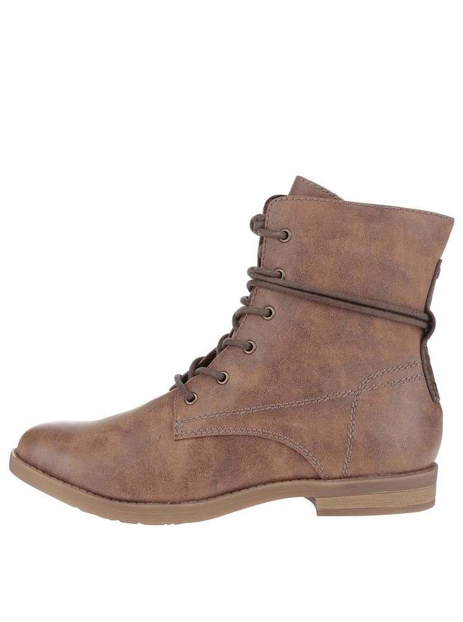 Hnědé kotníkové boty se zipem Tamaris