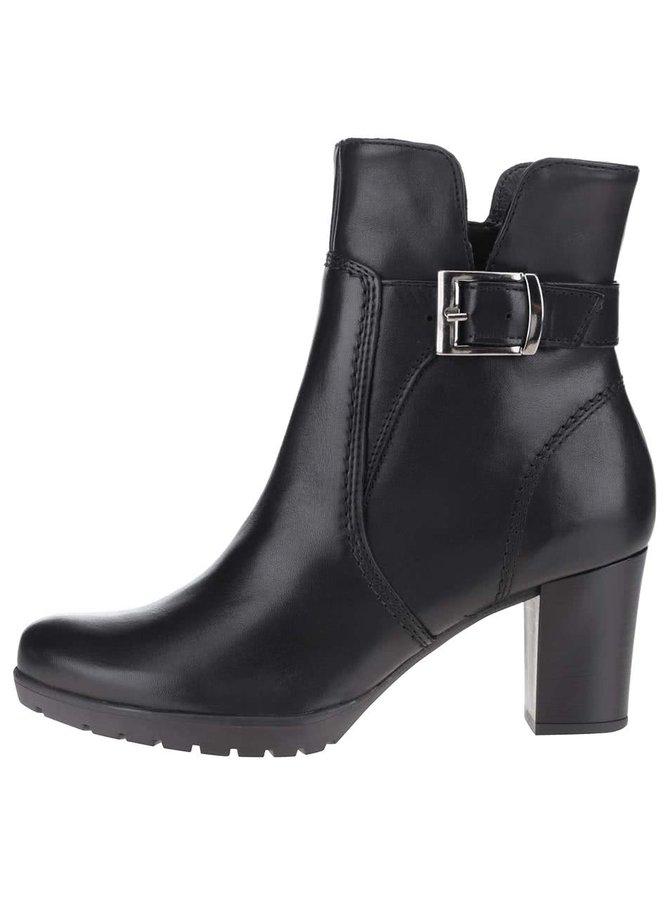Černé kožené kotníkové boty s přezkou Tamaris
