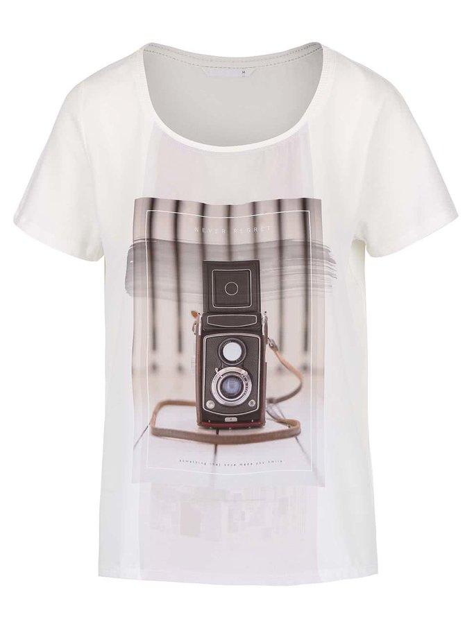 Krémové tričko s flitrami ONLY Rhina