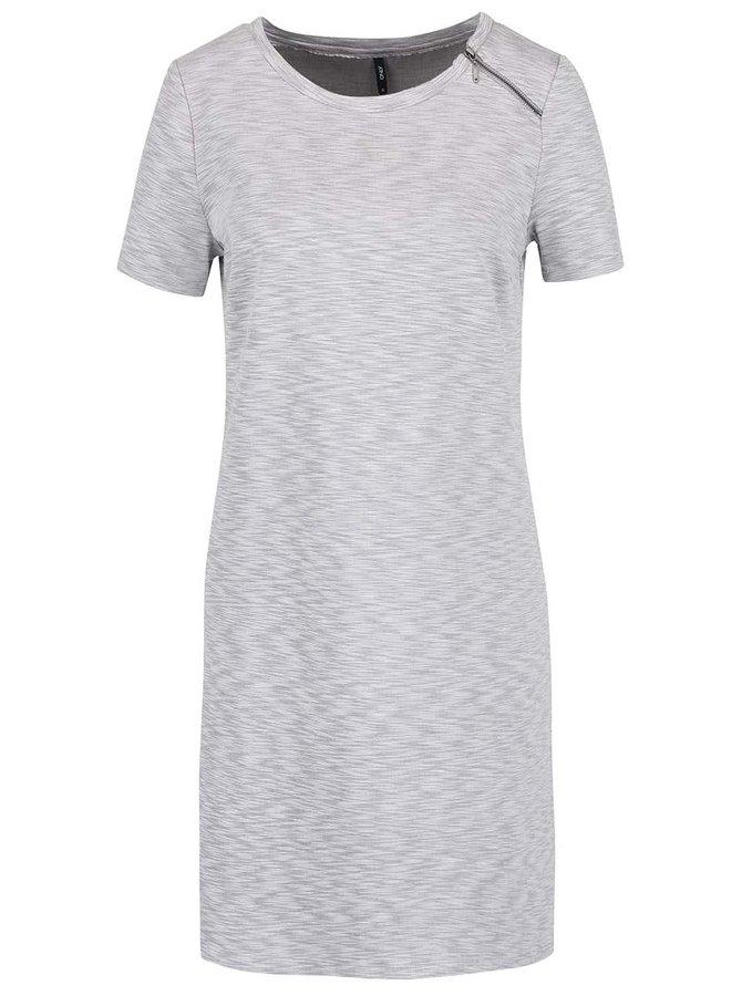 Světle šedé žíhané šaty s ozdobným zipem ONLY Nadia