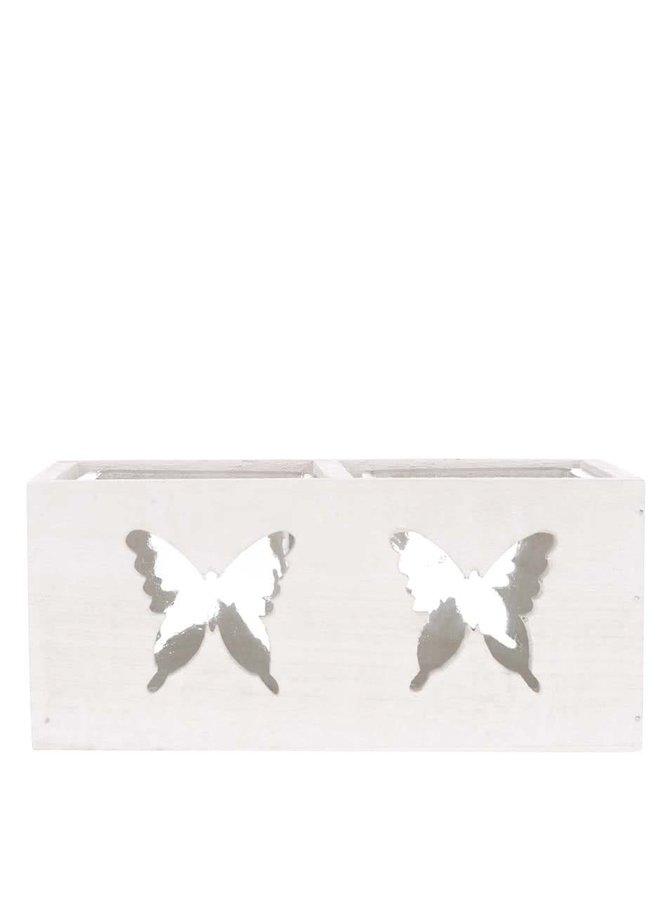 Dvojitý krémový dřevěný svícen s vyřezanými motivy motýlů Dakls