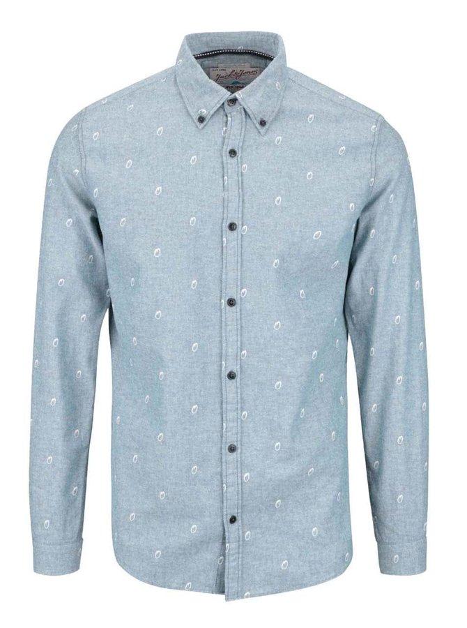 Šedomodrá vzorovaná slim košile Jack & Jones Foo