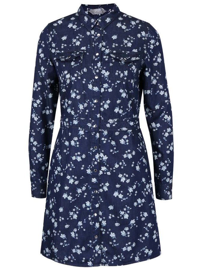 Tmavomodré rifľové košeľové šaty s kvetinovým vzorom Dorothy Perkins