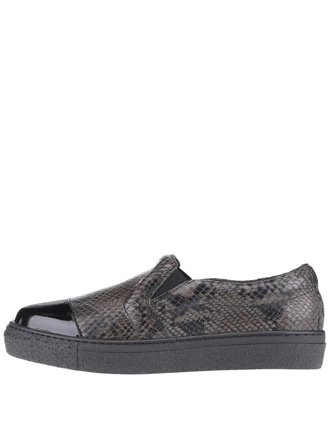 Čierne kožené loafers s hadím vzorom OJJU Forty