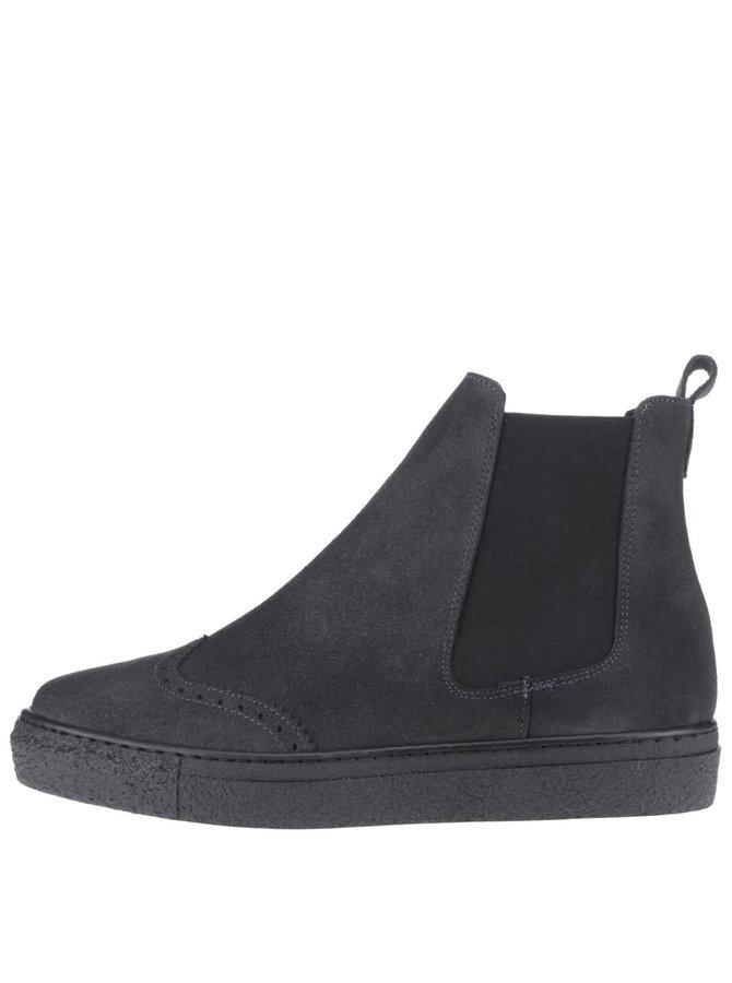 Tmavě šedé semišové kotníkové boty OJJU Tifon
