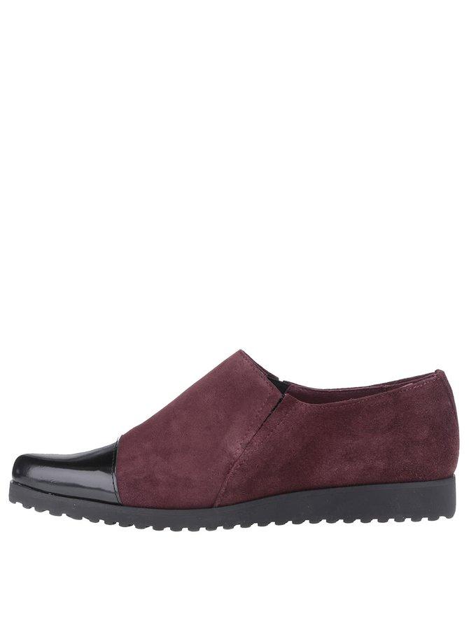 Pantofi loafer OJJU vișii din piele întoarsă