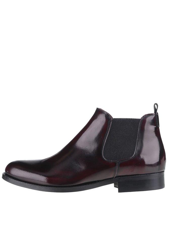 Vínové kožené kotníkové chelsea boty OJJU