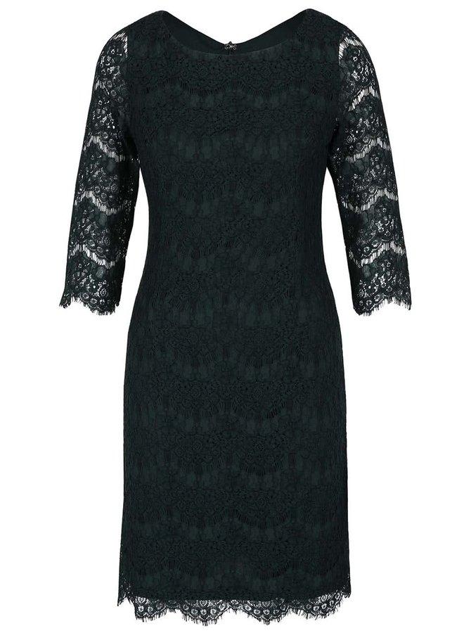 Tmavozelené čipkované šaty s 3/4 rukávmi Apricot