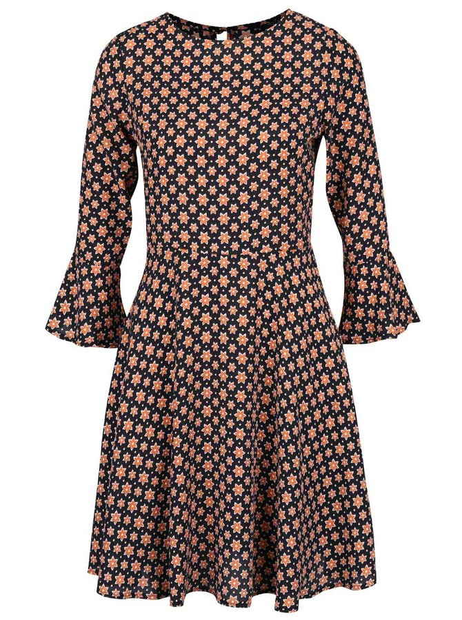 Černé šaty s oranžovým květovaným vzorem Dorothy Perkins