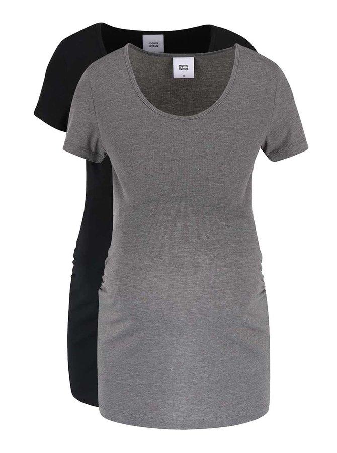 Set 2 tricouri gri-negru Mama.licious Lea