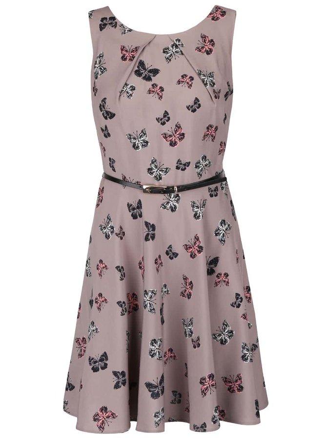 Sivohnedé šaty s potlačou motýľov Apricot