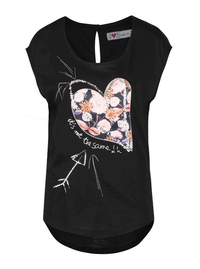 Tricou negru cu model inimă Desigual Pensamiento