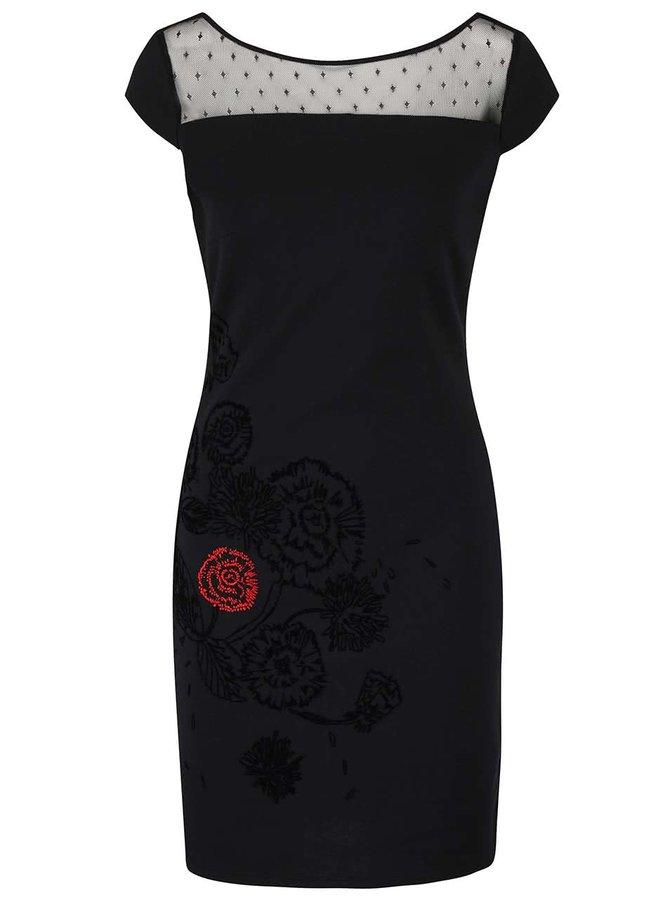Černé šaty se síťovaným dekoltem aa výšivkou Desigual Clemente