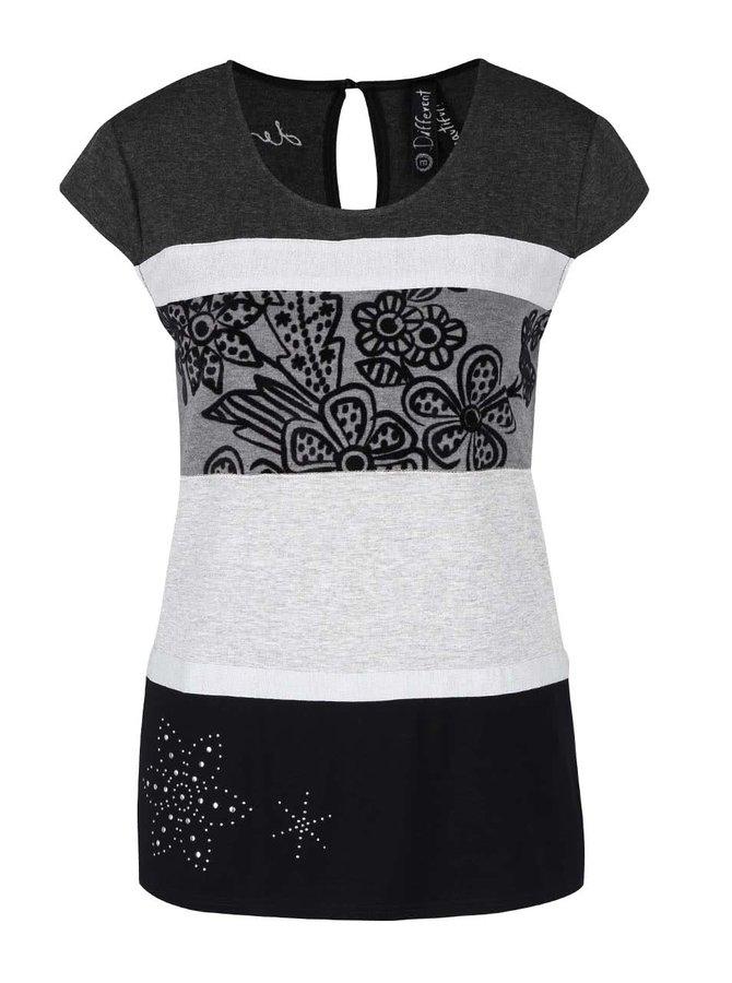 Černo-šedé tričko Desigual Shannen