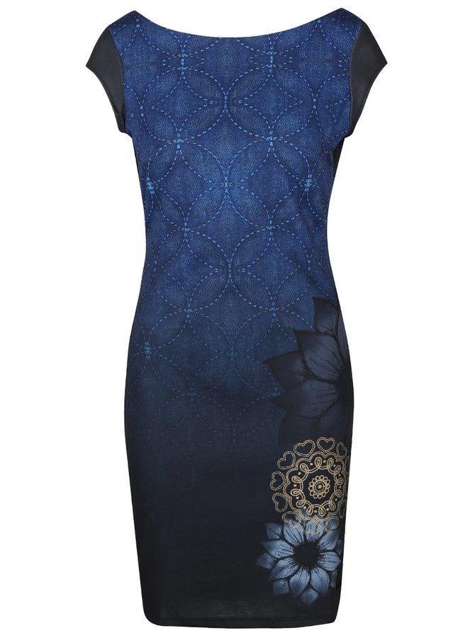 Tmavomodré šaty s vykrojeným chrbtom Desigual Pichi Electra