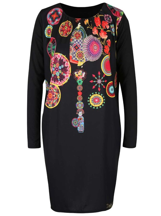 Rochie neagră cu mâneci lungi Desigual Estela