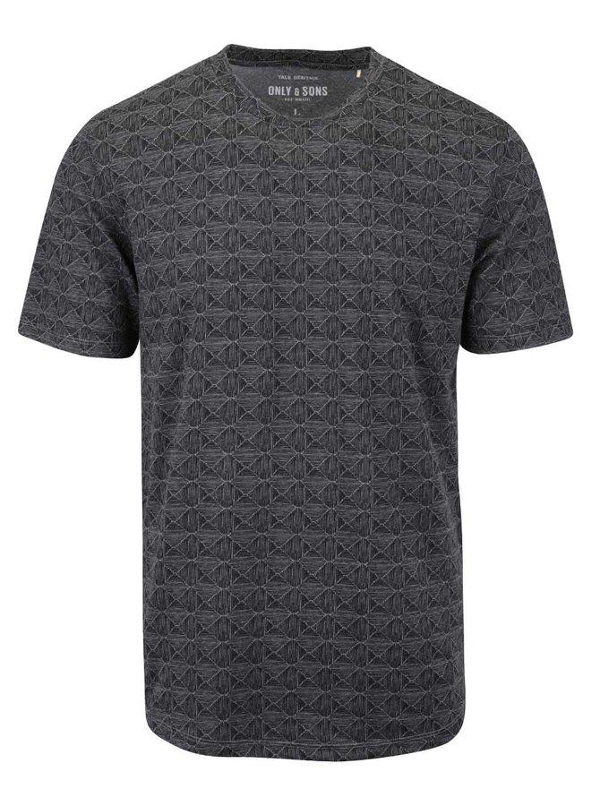 Tmavě šedé vzorované triko ONLY & SONS Number