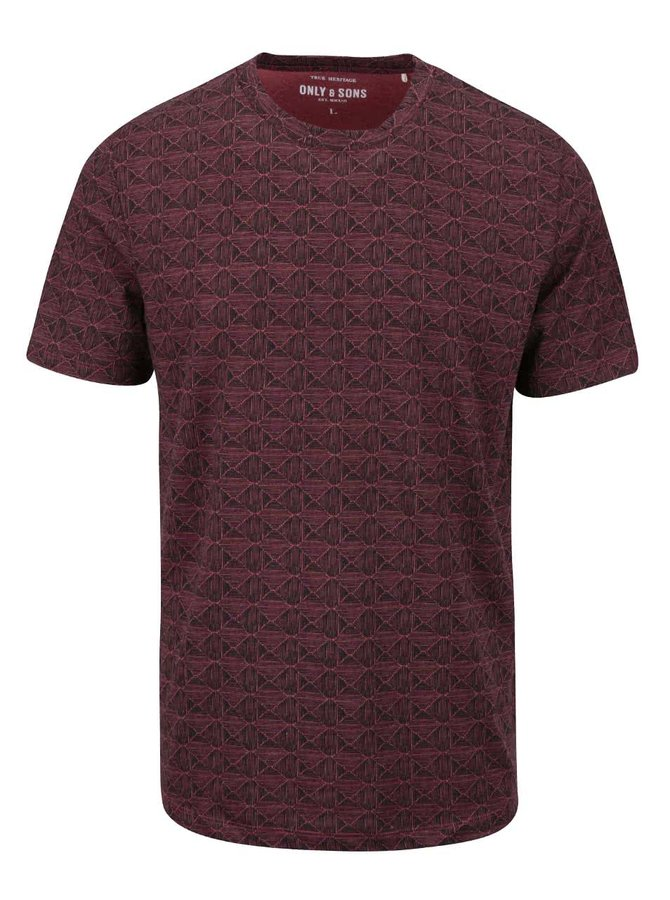 Tricou roșu Only & Sons Number cu imprimeu