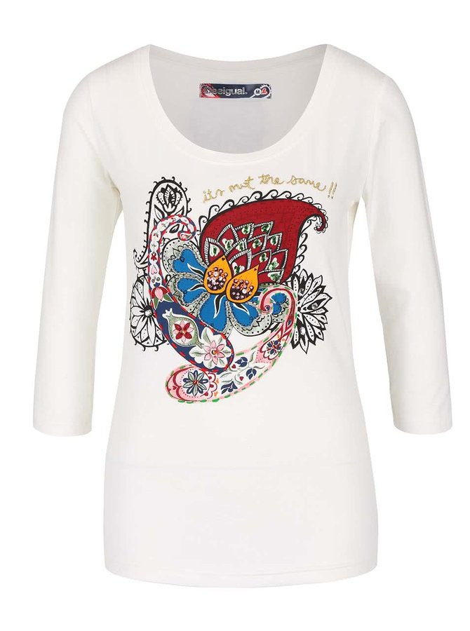 Krémové tričko s barevným ornamentem a  3/4 rukávy Desigual Natasha