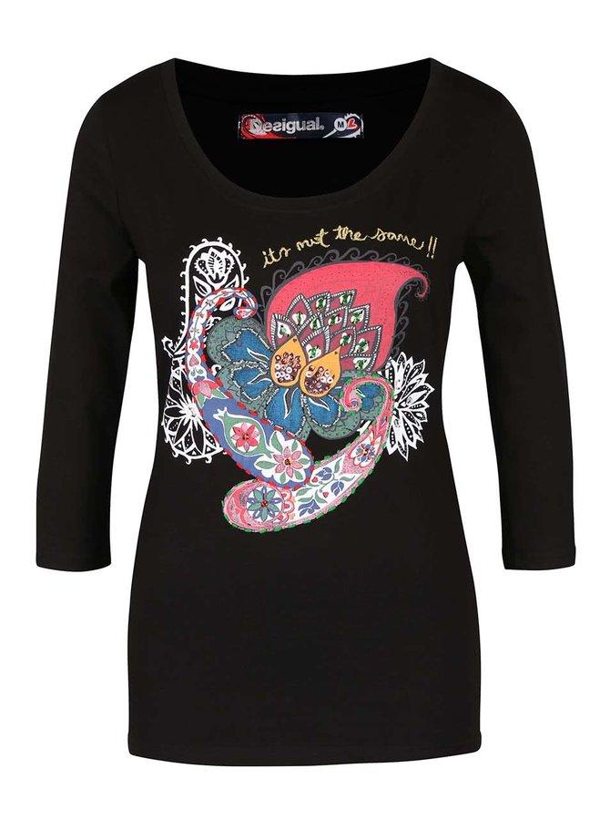 Bluză neagră cu model multicolor Desigual Natasha