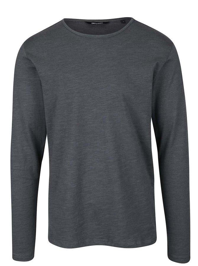 Tmavozelené žíhané tričko s dlhým rukávom ONLY & SONS Neal
