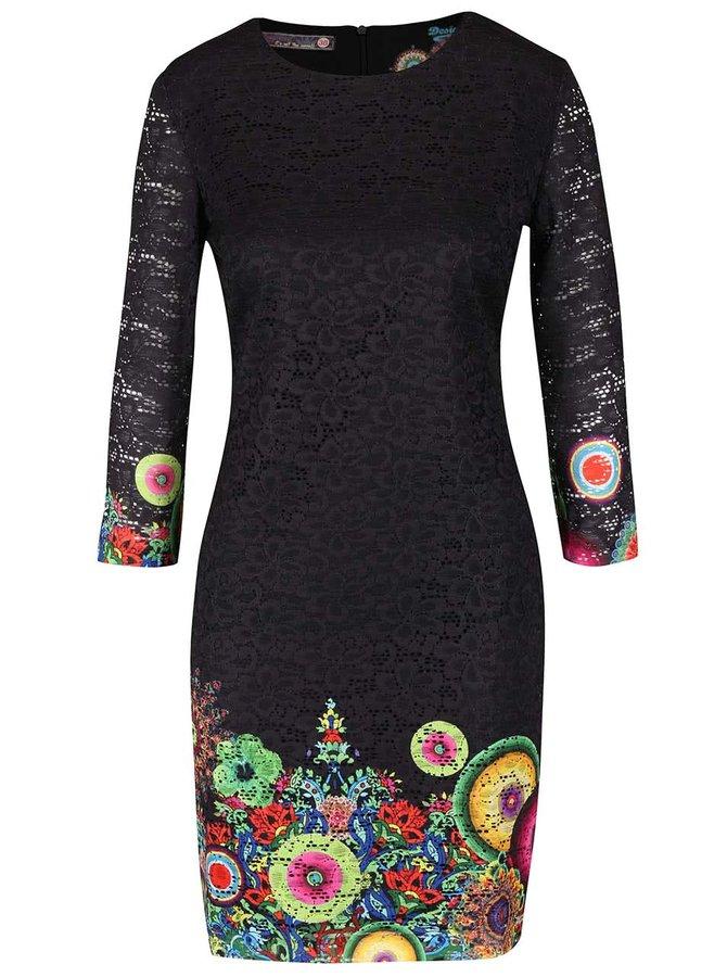 Černé krajkované šaty s barevným potiskem Desigual Wendoline