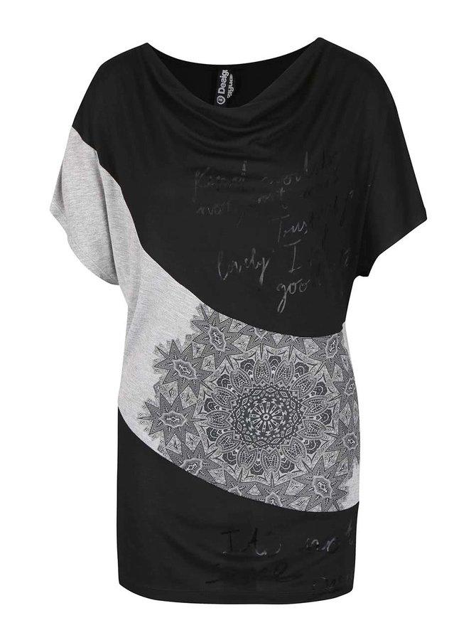 Tricou negru-gri cu model Desigual Suiza