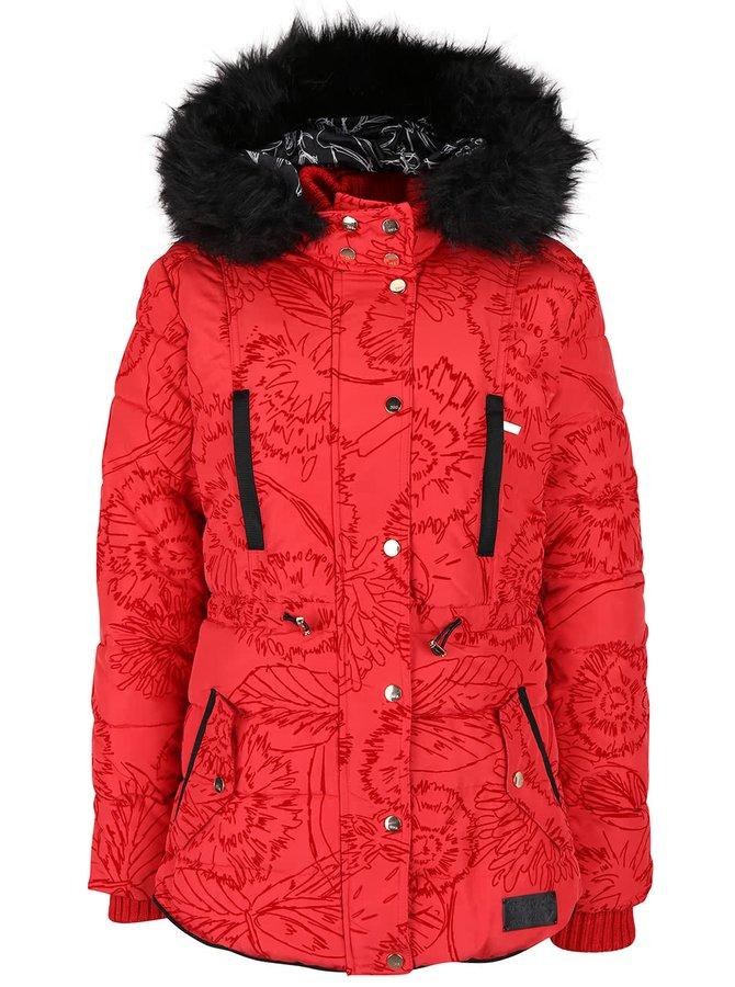 Červená vzorovaná bunda s kapucí Desigual Marlene