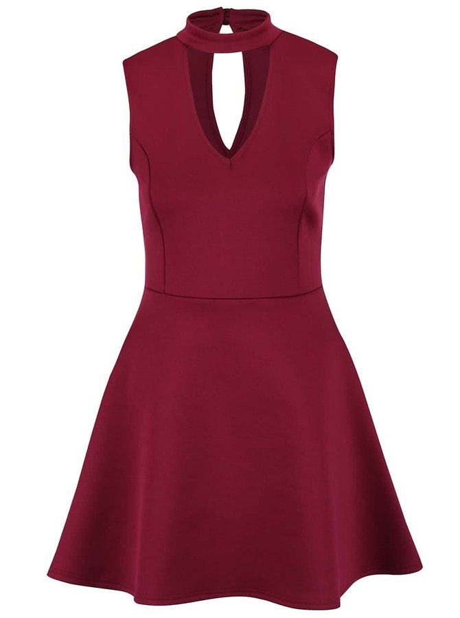 Vínové šaty s véčkovým výstřihem Lipsy