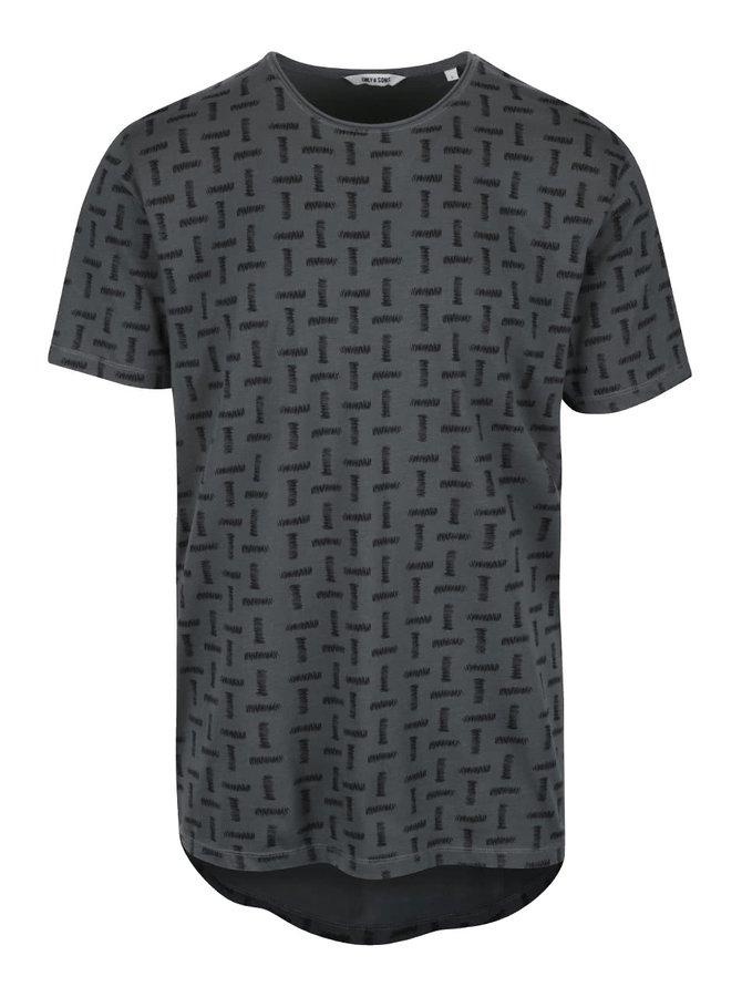 Tmavě zelené vzorované triko ONLY & SONS Komma