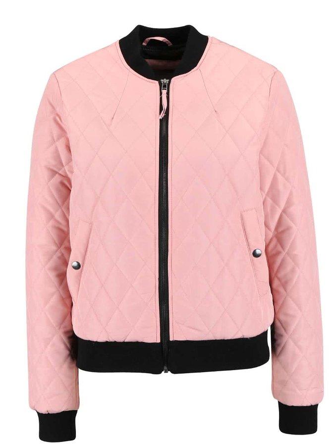 Světle růžový prošívaný bomber Vero Moda Milla