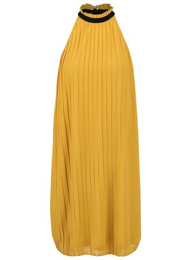 Horčicové plisované šaty s golierikom a mašľou VERO MODA Lima