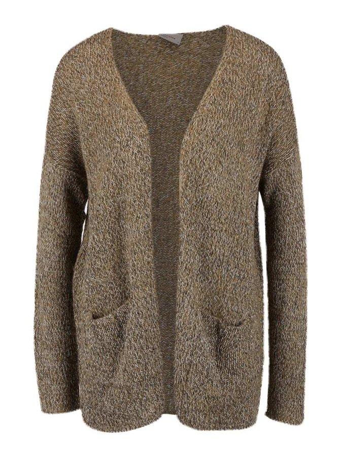 Světle hnědý žíhaný cardigan s kapsami Vero Moda Jive