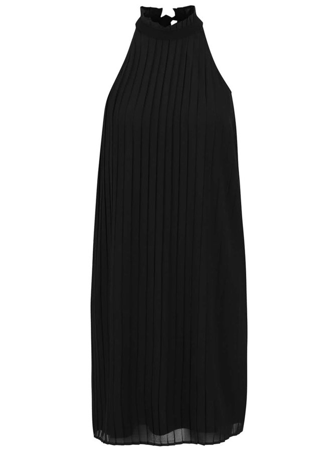 Černé plisované šaty se stojáčkem a mašlí Vero Moda Lima