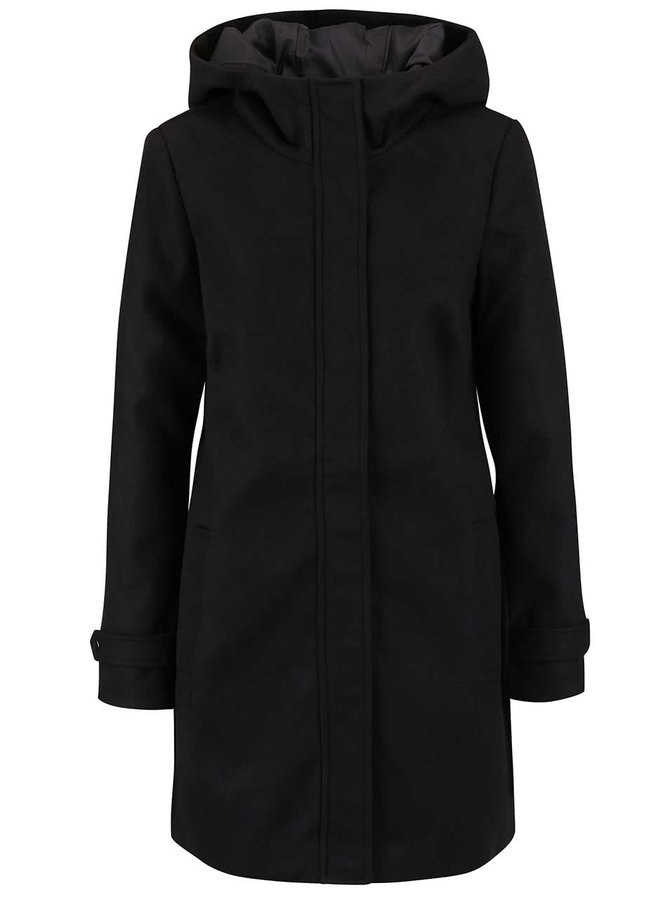 Čierny kabát s kapucňou VERO MODA Mialiga