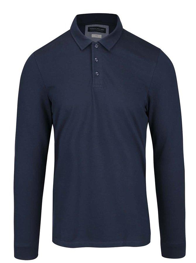 Tmavě modré polo triko s dlouhým rukávem Jack & Jones Foster