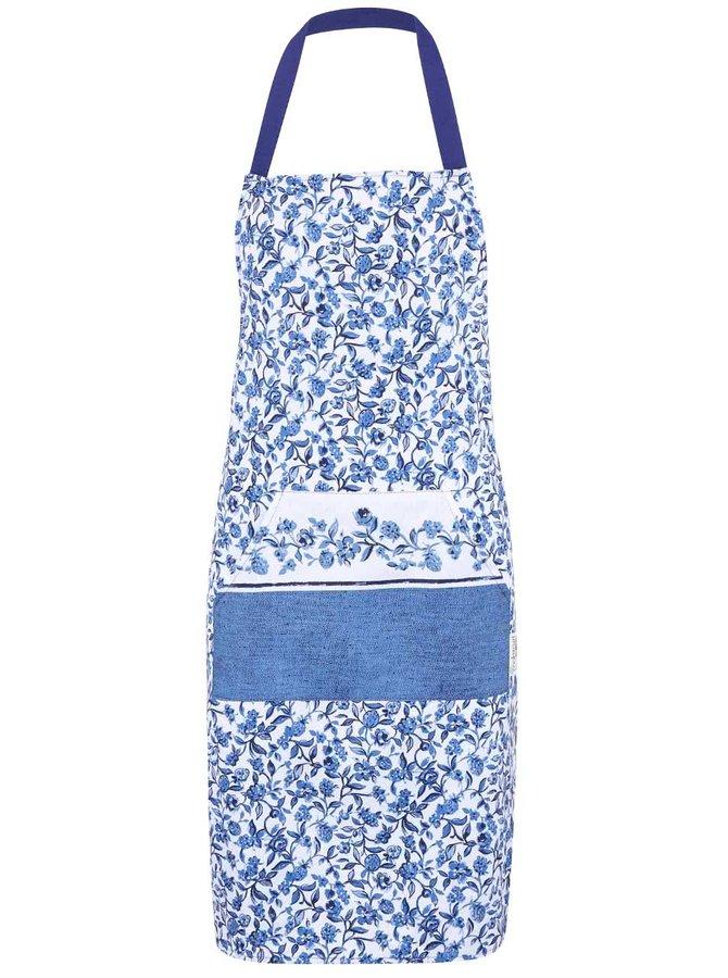 Bílo-modrá květovaná zástěra Cooksmart Secret Garden