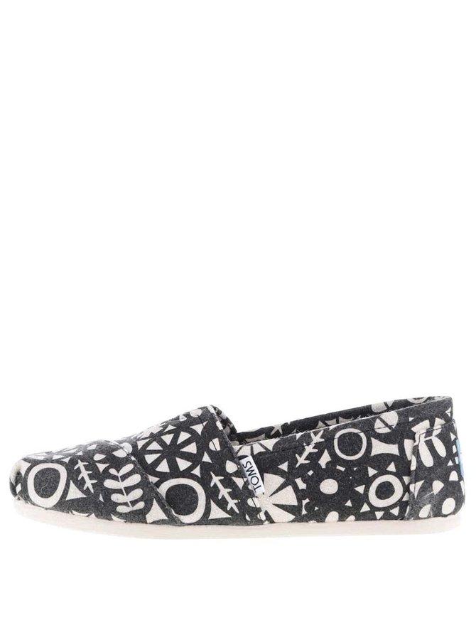 Krémovo-čierne dámske vzorované loafers TOMS
