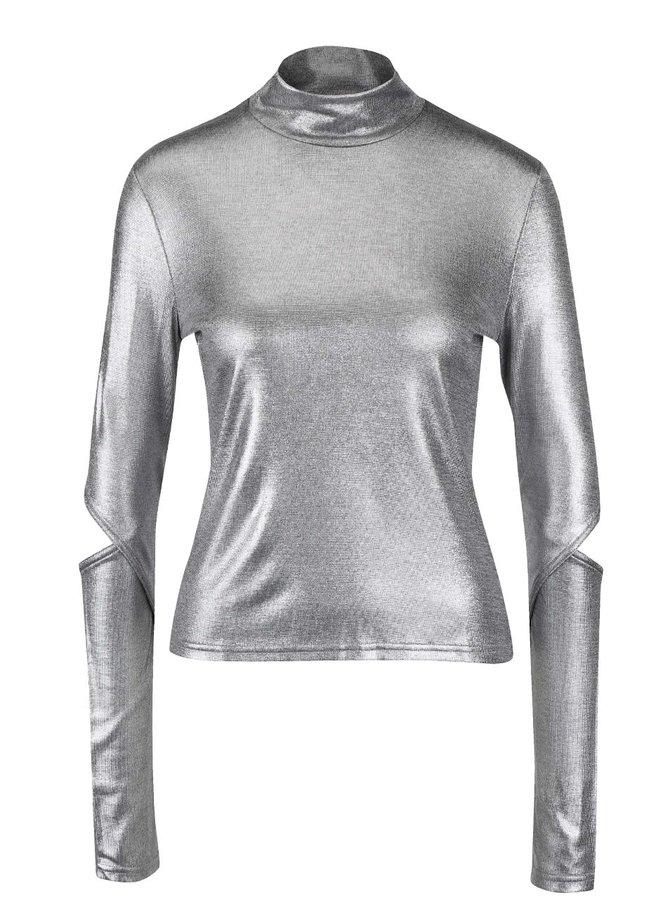 Helancă argintie Cheap Monday Rock cu măneci decupate