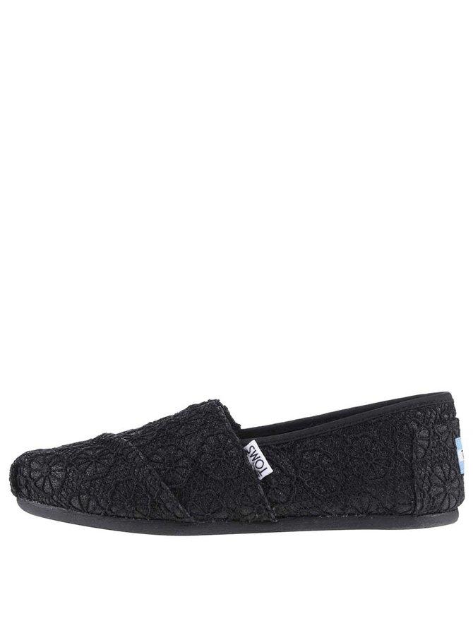 Černé dámské krajkované loafers TOMS